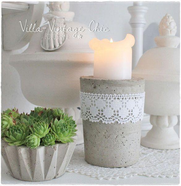 Kerzenständer aus Beton von Villa-Vintage-Chic auf DaWanda.com