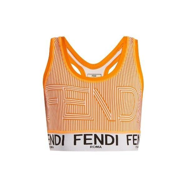 Fendi Striped logo-print performance bra (£195) ❤ liked on Polyvore featuring activewear, sports bras, orange multi, fendi, racer back sports bra, neon orange sports bra, strappy sports bras and orange sports bra