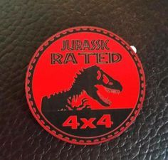 Jurassic Rated Jeep Badge Red on Back