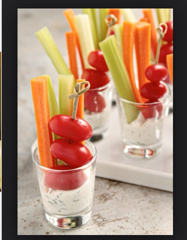 Veggies in shooters with the choice of ranch, blue cheese, and Italian dressings