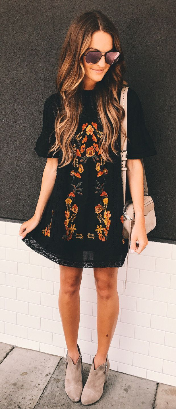 #summer #outfits Church And Brunch In My Favorite Little Embroidered Dress . On Sale And Comes In 3 Colors! (booties, Bag, And Sunglasses Also On Sale )