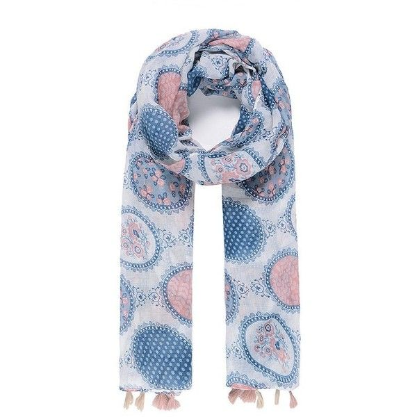 White blue and pink vintage scarf with pon pon ($20) ❤ liked on Polyvore featuring accessories, scarves, blue and white scarves, vintage scarves, vintage shawl, pink shawl and pink scarves