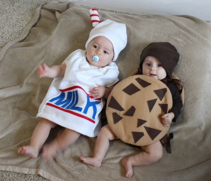 Baby Twin Costumes Milk and Cookie Halloween Infant Toddler Newborn Halloween Costume Milk Carton Photo Prop Purim by TheCostumeCafe on Etsy