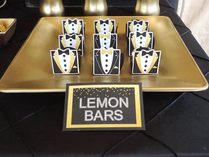 lemon bars from fabulous black u gold birthday party at karaus party ideas see festa de aniversrio