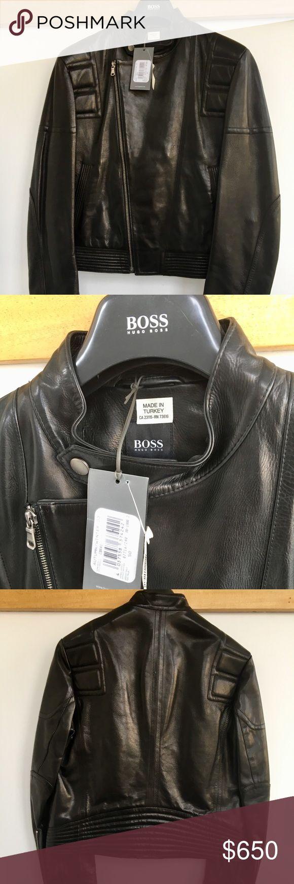 Hugo Boss Orange motorcycle leather jacket Hugo Boss