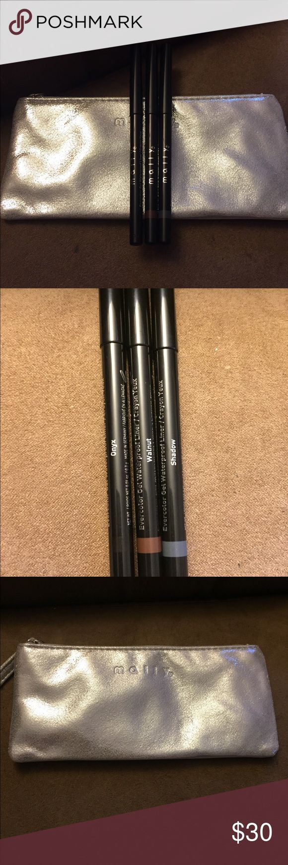 Mally Cosmetics eyeliner kit with bag Brand new! Mally Cosmetics set of 3 Evercolor gel waterproof liners. Full sizes! Onyx, Walnut and Shadow. Comes with small bag. mally Makeup Eyeliner