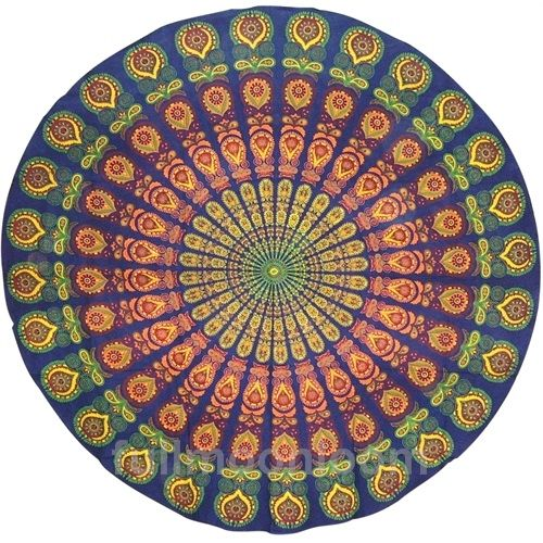 Indian Print Round #Sanganeer Tablecloth In Floral Peacock Pattern.  Measures Approximately 72 Inches Across