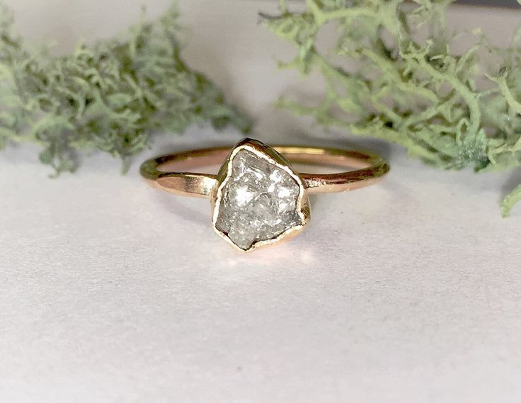 Raw uncut rough diamond ring, Rough Grey Diamond Ring, 14k gold, Rough Diamond engagement ring, conflict free by mossNstone on Etsy https://www.etsy.com/listing/268195667/raw-uncut-rough-diamond-ring-rough-grey