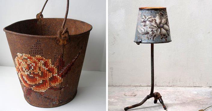 Severija z Litvy vyšíva nádherné ornamenty do hrdzavých kovových predmetov. Výšivky, kovové vyšívanie, handmade, umenie, kov, nápad, umelecká upcyklácia