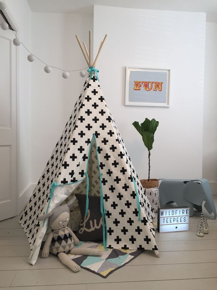 Children s Play Monochrome Teepee Cross with Sea Foam Blue  Playroom  FurnitureKids. 172 best Modern black   white kids Teepees images on Pinterest
