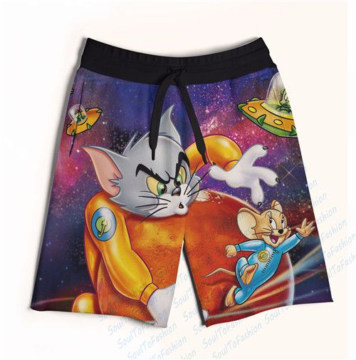 Real AMERICAN US Size Galaxy Tom & Jerry 3D Sublimation Print Custom made Fifth & Seventh Shorts with String