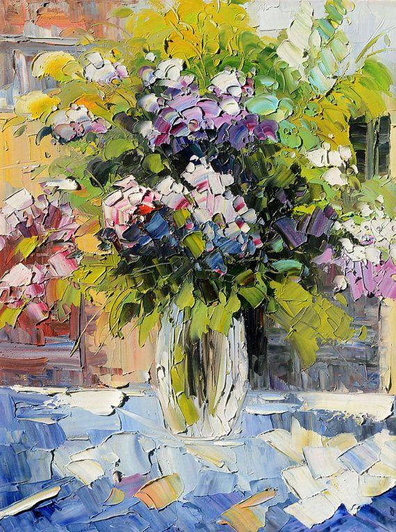 Original Oil impasto flower painting Painting by ArtPaintingsMP
