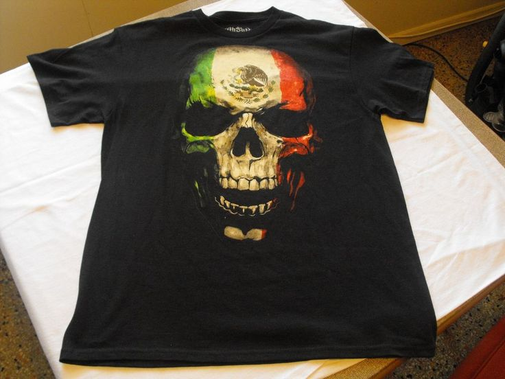 L Black MEXICAN SKULL green, white and red, eagle, flag Low Rider T-shirt. #FIFTHSUN #GraphicTee