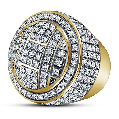 Vorra Fashion 14k Gold Plated 925 Silver 7.10 Ct Sim Diamond Round Dome Cluster Men's Pinky Ring (N 1/2)