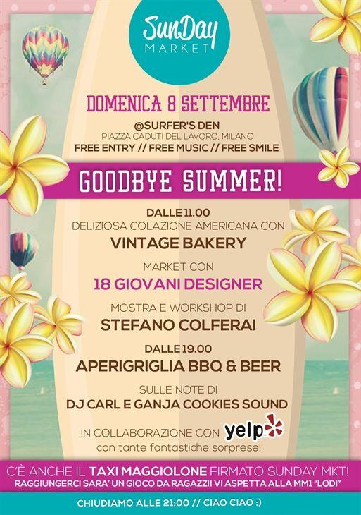 Vi aspettiamo per fare Shopping di fine Estate! A Milano, l'8 settembre! @Aubrey Godden Smith's den con Vintage Bakery e Yelp Milano :) #ellisemabel #sundaymkt #goodbyesummer