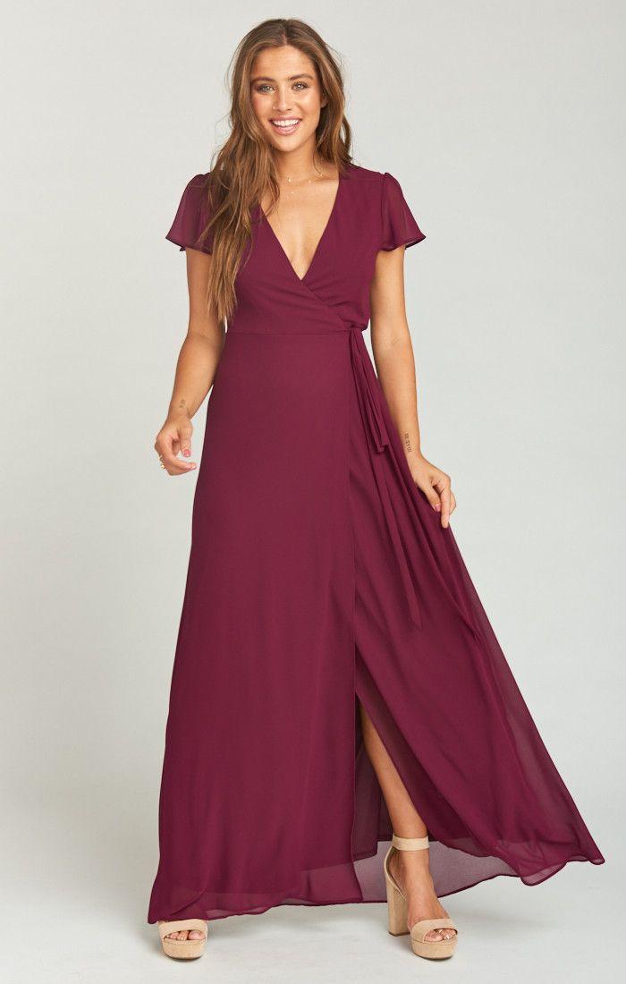 196a82b8aeb9 Noelle Flutter Sleeve Wrap Dress ~ Merlot Chiffon in 2019 | My best ...
