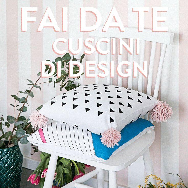 Due idee per dei cuscini di design fatti in casa. Decorate le vostre federe con geometrie e colori dallo stile impeccabile.