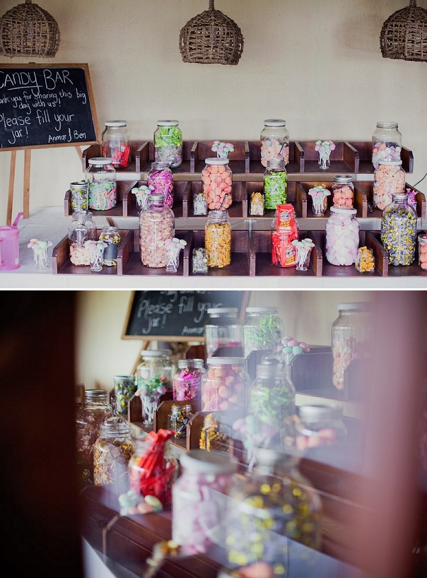 Love the way this wedding reception candy station is set for Candy bar for weddings receptions