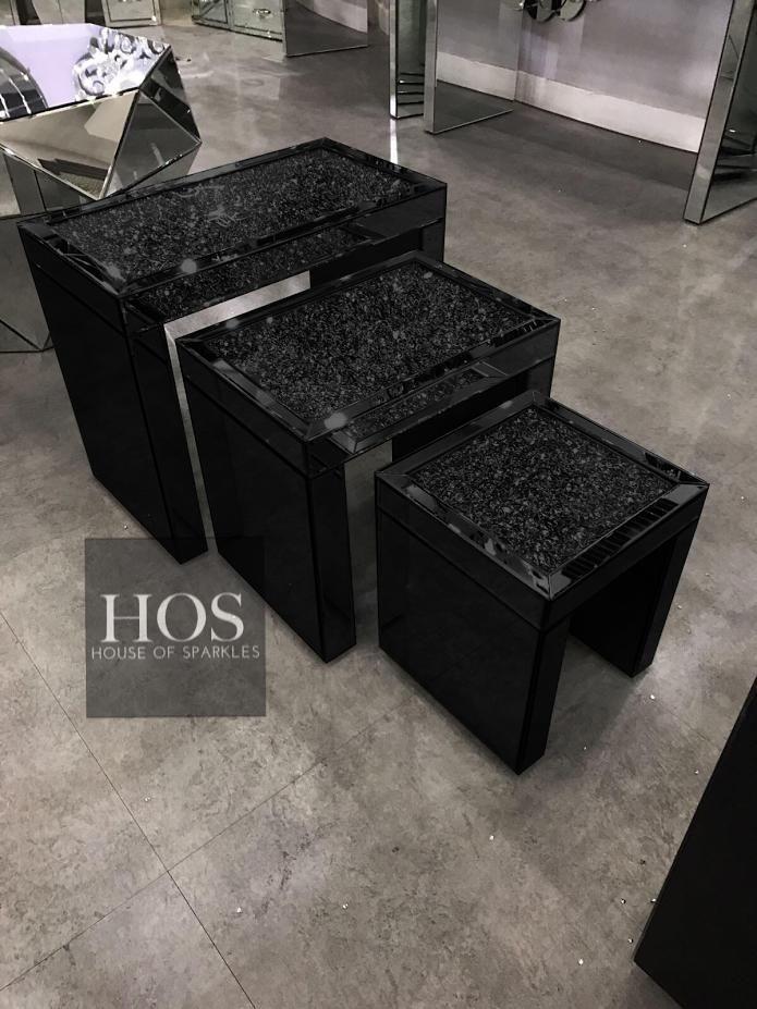 Black Mirror Crush Nest Of 3 Tables Mirrored Furniture Black Mirror Affordable Furniture