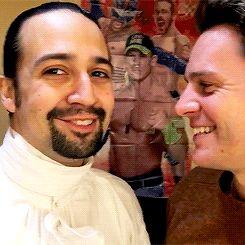 Jonathan Groff and Lin Manuel Miranda's bro-kiss on Jonathan's birthday