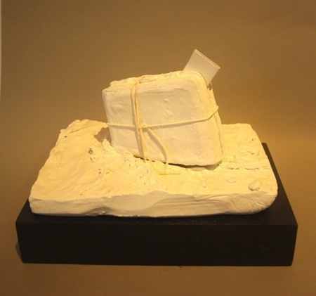 Ben Sheers  Departure - 2012  Painted porcelain, rope on hardwood base  17 x 22 x 16 cm