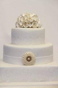 Hochzeitstorte-elegant-cremeweiß  Kuchendeco  Pinterest