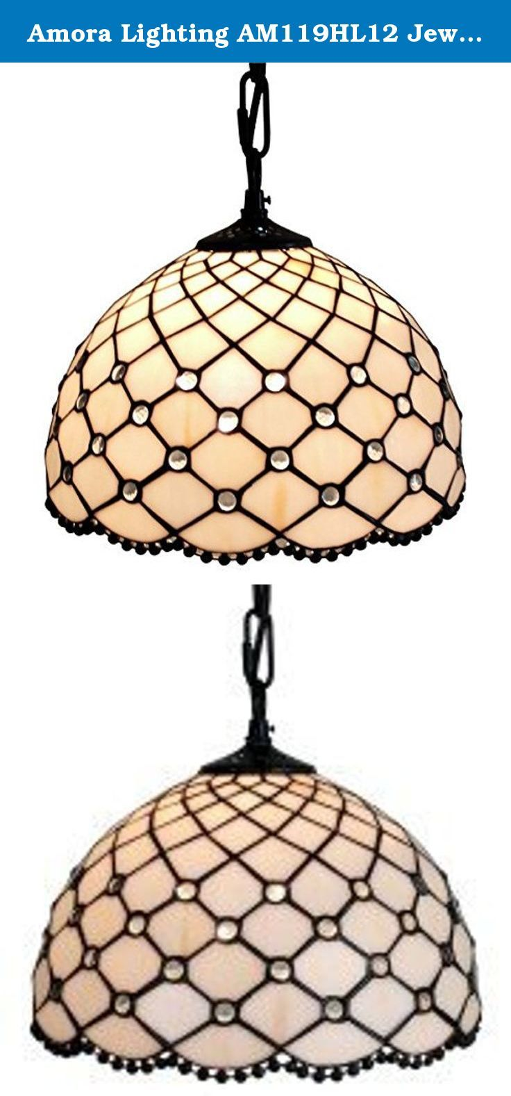 Amora Lighting AM119HL12 Jewel Tiffany Style Hanging Lamp 12 In. Bring a warm glow to your space with this attractive Tiffany-style art glass hanging lamp by Amora. Stunning glimmers of organic colors are arranged in a geometric pattern to complement the dark brown finished base. endearing this art glass hanging lamp to any decor. The glass shade directs the light from one bulb downward and diffuses the amount of light coming through for a warm glow. • Features 165 glass pieces and 60…