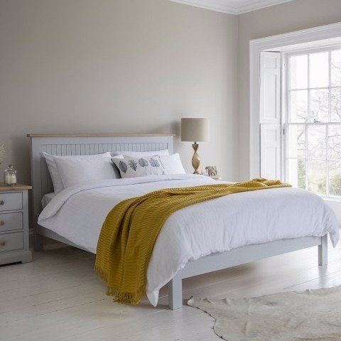 Hudson Living Marlow Bed Painted in Grey - Modish Living - Scandinavian style Reclaimed wood white bed