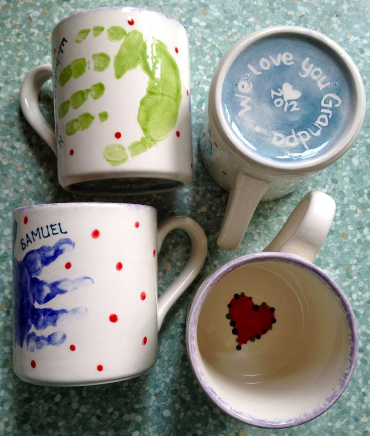 Baby & toddler handprint mugs for Fathers Day 2012