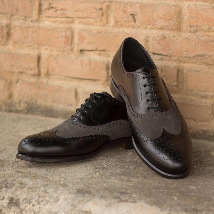 Handmade Men Two Tone formal shoes Men wing tip spectator brogue shoes Men shoes - Dress/Formal