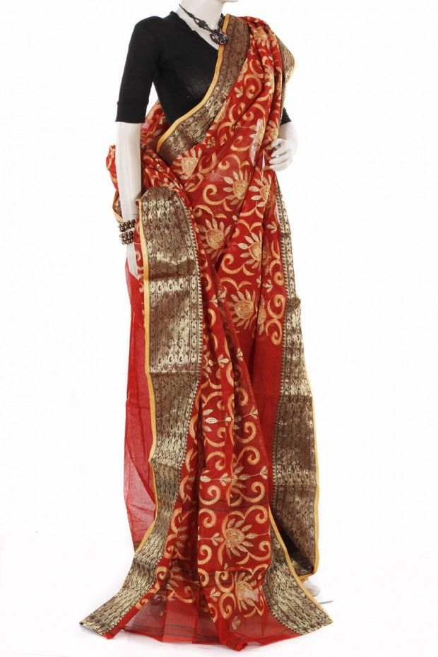 This exclusive handloom saree made from cotton with nice embroidery work.