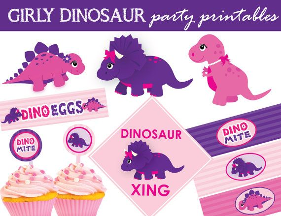 Pink & Purple Dinosaur party printables including:  Circle Cupcake Toppers (circle/square decals) Centerpiece Dino Decals Food Label Cards Water