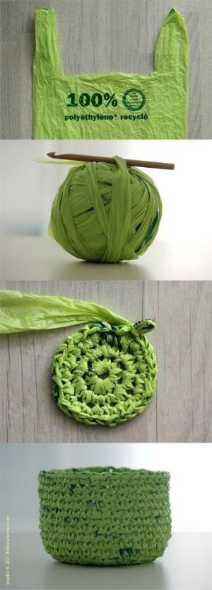 crochet basket with plastic bag yarn by sheri