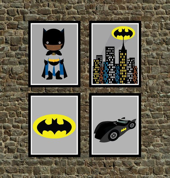 Set Of 4 Super Hero African American Batman Wall By