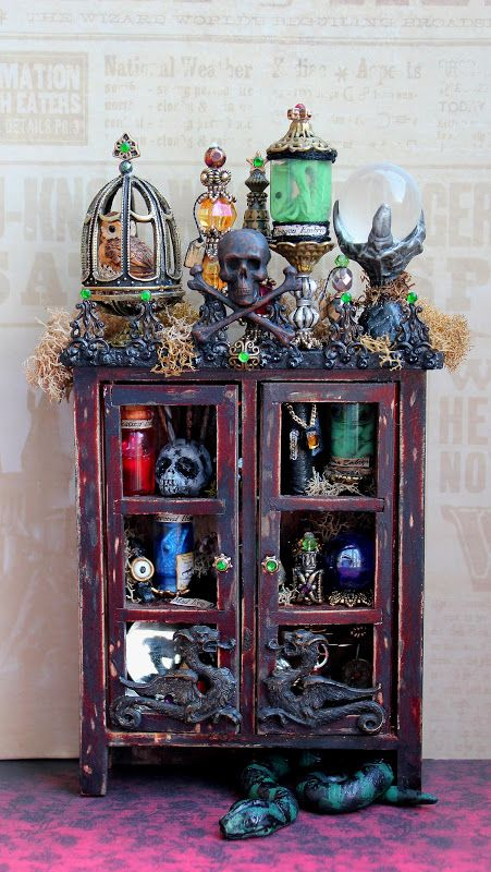 19th Day Miniatures Works in Progress: Dollhouse Miniature Harry Potter Death Eater Cabinet is Complete  http://19thdayminiatures.blogspot.com/2012/11/dollhouse-miniature-harry-potter-death.html#