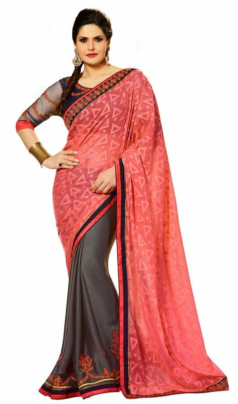 Render your tender beauty like Zarine Khan dressed in this gray and salmon brasso satin half n half sari. The lace, patch and resham work personifies the complete appearance. #LatestAlluringDesignerSarees