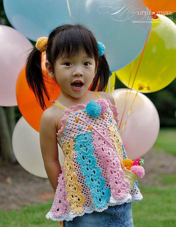Ice Cream Social Apron Top Crochet Pattern Sz 2-12 PDF eBook