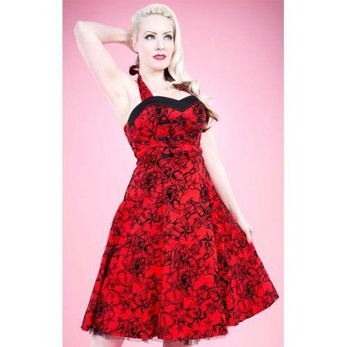 H & R London Red Flocking Long Dress Retro Vintage Pinup Steampunk Style