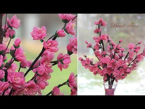 Tutorial for French beaded Cherry Blossoms Level: Beginner Part 1: French beaded Cherry blossoms Part 2 : If you enjoyed the above tutorial, consider buying a kit to keep the free tutorials flowi…