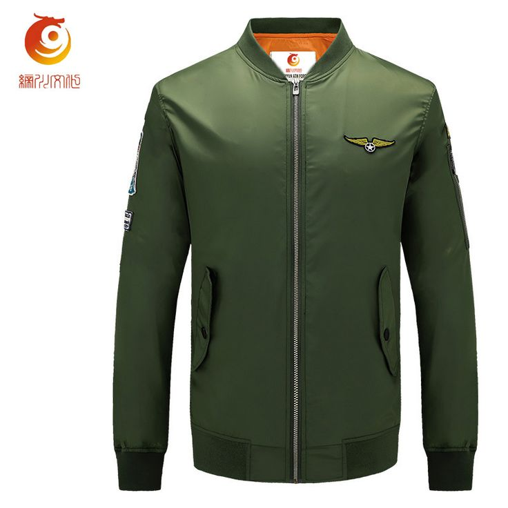 2017 New Air Force One Pilot Jacket Mens Spring Stand Bomber Jacket Men Plus Size M-5XL Casual Military Coat Army Green Clothing