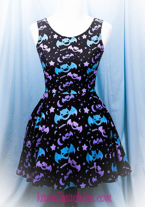 Graveyard Shift Printed Skater Dress (Bats, Moons, Stars)  Fairy Kei Pastel Goth Kawaii Plus Size