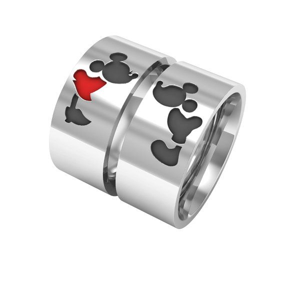 Mickey minnie ring, mice rings, valentine's day mickey minnie bands, silver band rings, 14k white gold band ring, couple band rings