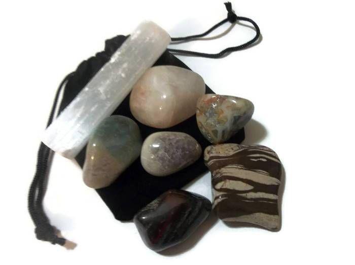 7 pcs Healing Crystals & Stones With Selenite Crystal Magic Set