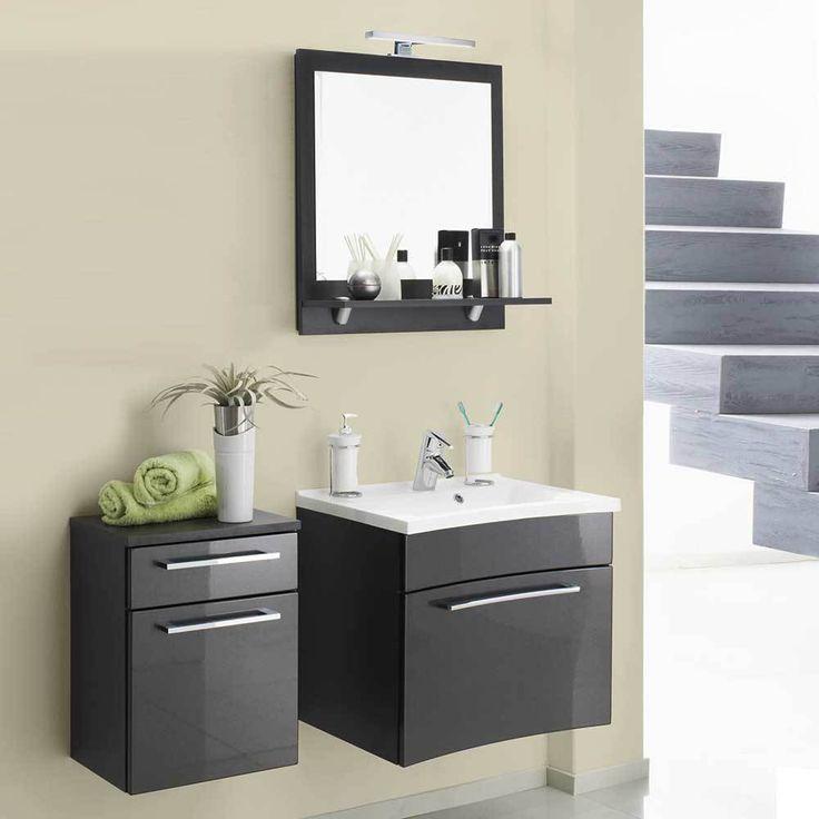 Badezimmer Kombination Mit 3D Spiegelschrank Und Waschtisch Hochglanz  Anthrazit (3 Teilig) Jetzt Bestellen