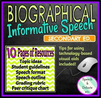 This biographical informative speech activity is the perfect combination of research, writing, implementation of technology, and public speaking for ANY secondary subject area! Students will choose a historic or modern-day figure who made (or has made) a positive impact on society.