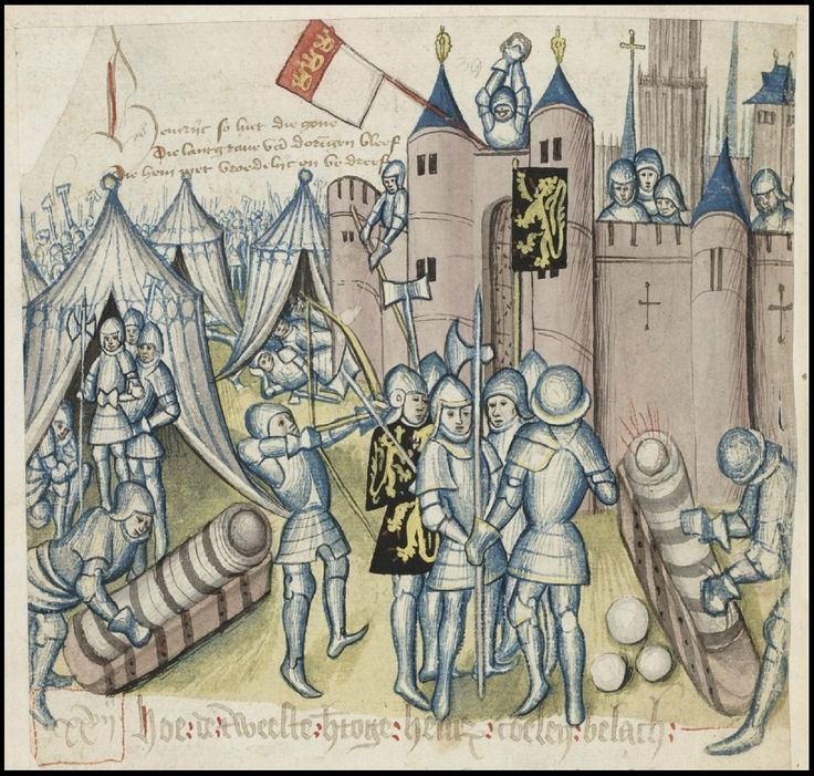 The Brabant Chronicle Brabantsche Yeesten soldiers in armour lay siege to castle - illustration