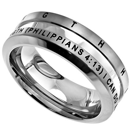 """'His Strength' - Men's Industrial Band is a Brushed Stainless steel ring with high polish center, beveled sides and comfort fit interior.  Top of ring band is engraved and black enamel filled, reading """"His Strength"""".  Bottom of ring band reads, """"I Can Do All Things Through Christ Who Is My Strength (Philippians 4:13)""""."""