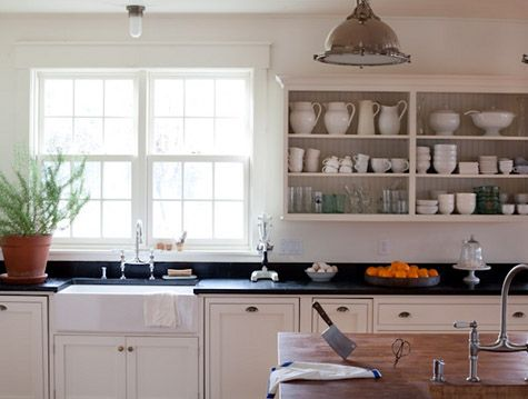 greige: interior design ideas and inspiration for the transitional home : Exposed kitchen storage