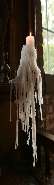 dripping candle - Would love to do one with a fake candle, clear thread and hot glue.