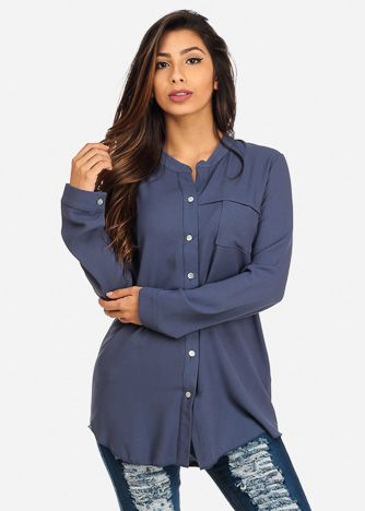 Solid Blue Lightweight Long Sleeve Blouse Shirt